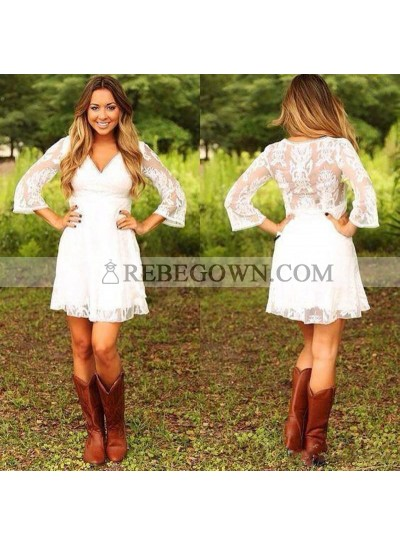 2021 Cheap A-Line Wedding Dresses Long Sleeves V-Neck Empire Knee Length Short Beach