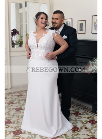 2021 Sheath New Arrival Wedding Dresses Sweetheart Capped Sleeves Lace Plus Size