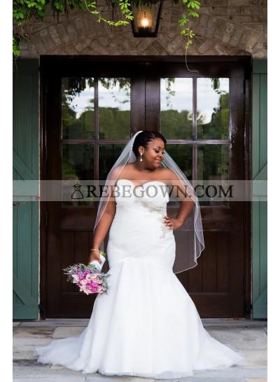 2021 Mermaid Sexy Wedding Dresses Sweetheart Organza Beaded Pleated Plus Size