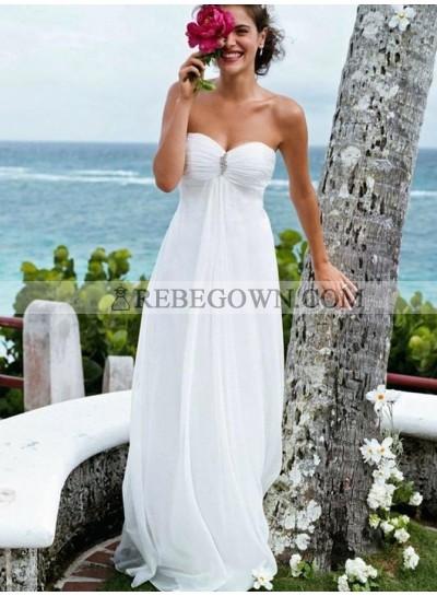 2021 Cheap A-Line Wedding Dresses Sweetheart Chiffon Beaded Strapless Beach