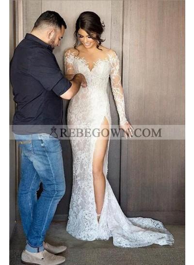 2021 Long Sleeves Wedding Dresses Sheath Side Slit Sweetheart Lace
