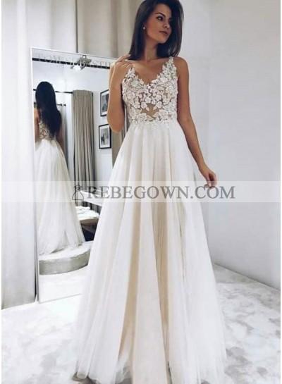 2021 Cheap A-Line Wedding Dresses Tulle V-Neck Floor Length Lace Beach