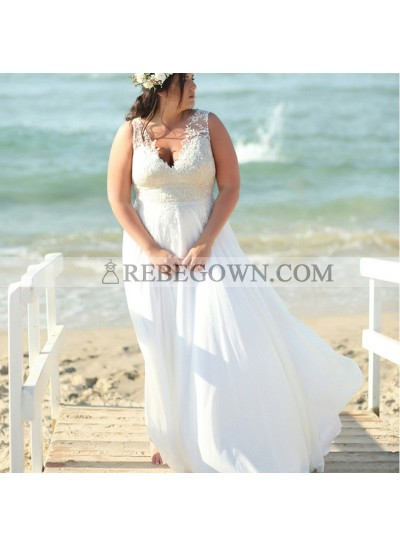 2021 Cheap A-Line Wedding Dresses Chiffon V-Neck Plus Size Lace Beach