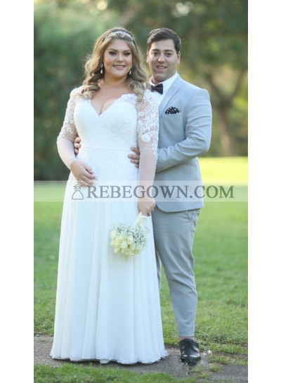 2020 New Arrival Wedding Dresses A-Line Floor Length Long Sleeves Lace V-Neck Plus Size