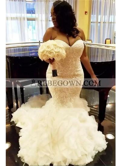 2020 Wedding Dresses Alluring Mermaid Sweetheart Lace Ruffles Long Plus Size