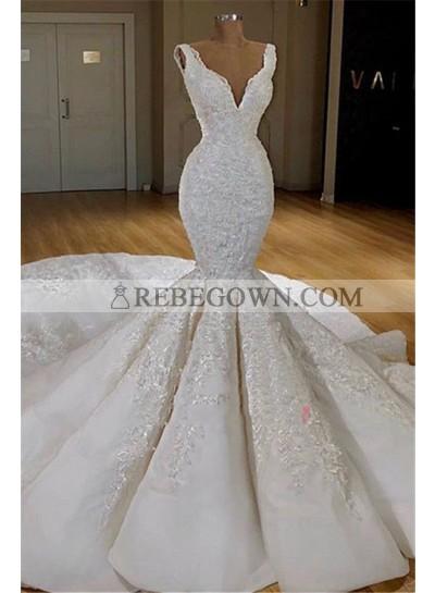 2021 Mermaid Sexy Wedding Dresses V-Neck Long Train Satin Lace
