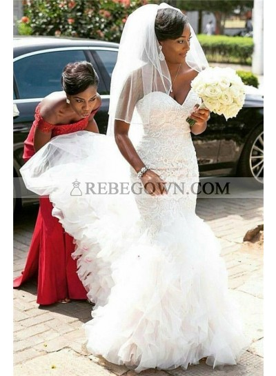 2021 Mermaid Wedding Dresses Sweetheart Lace Layered Tulle Pleated Long