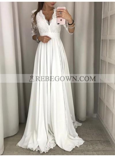 2021 Cheap A-Line Wedding Dresses Long Sleeves Chiffon Lace V-Neck Beach