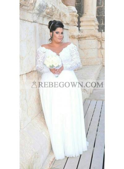 2021 Cheap A-Line Wedding Dresses Chiffon Long Sleeves Off Shoulder Lace Plus Size