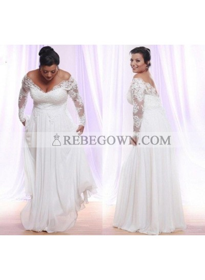 2021 Cheap A-Line Wedding Dresses Chiffon Off Shoulder Long Sleeves lace Plus Size