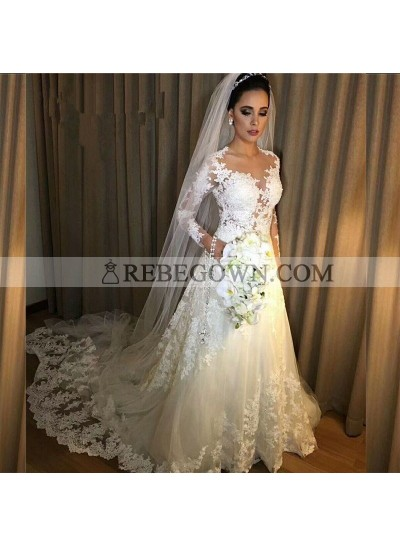 2021 Classic Wedding Dresses A-Line Long Sleeves Sweetheart Lace