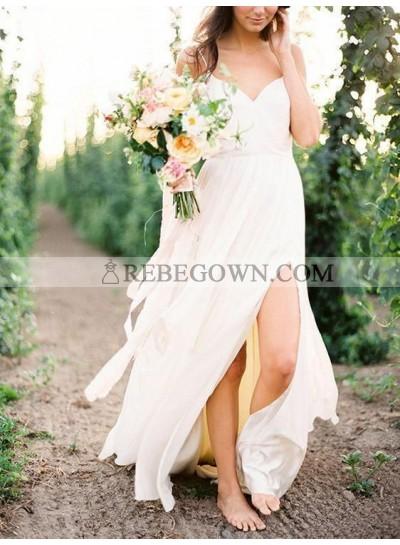 2021 Cheap A-Line Wedding Dresses Side Slit Chiffon Sweetheart Beach