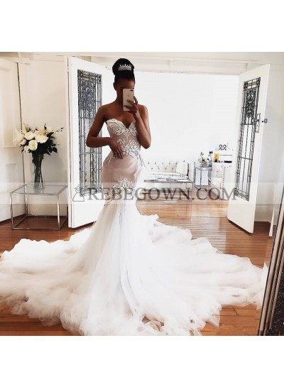 2021 Sexy Sweetheart Wedding Dresses Tulle Long Train Mermaid Embroidery