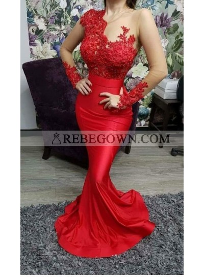 2020 Sexy Mermaid Prom Dresses Red Long Sleeves Appliques Satin