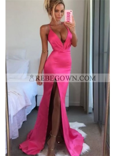 2021 Sexy A Line Prom Dresses Side Sheath Hot Pink Halter Open Front Elastic Satin