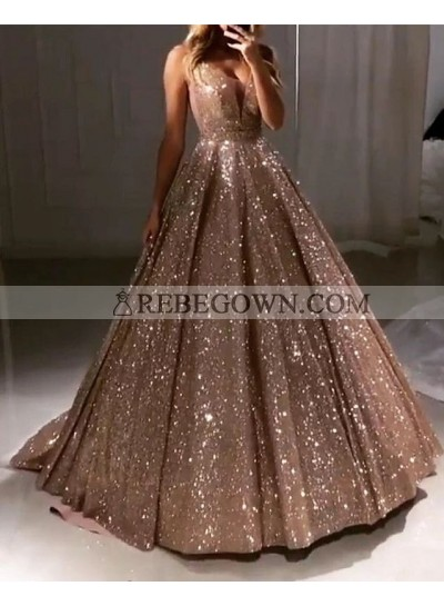 2020 New Arrival Prom Dresses Sweetheart Sequence Champagne Ball Gown