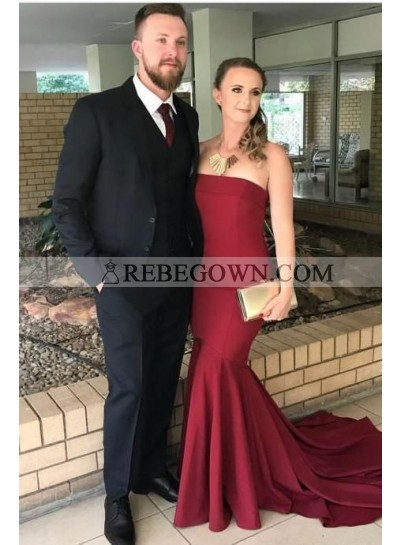 2020 Sexy Prom Dresses Strapless Satin Mermaid Burgundy Long