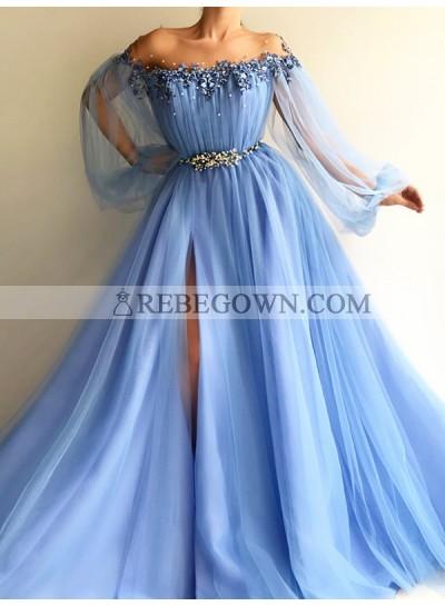 2021 New Arrival Prom Dresses A Line Blue Side Slit Tulle Off Shoulder Long Sleeves