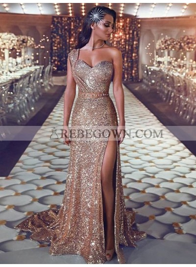 2020 New Arrival Prom Dresses Sheath Side Slit Champagne Sequence One Shoulder