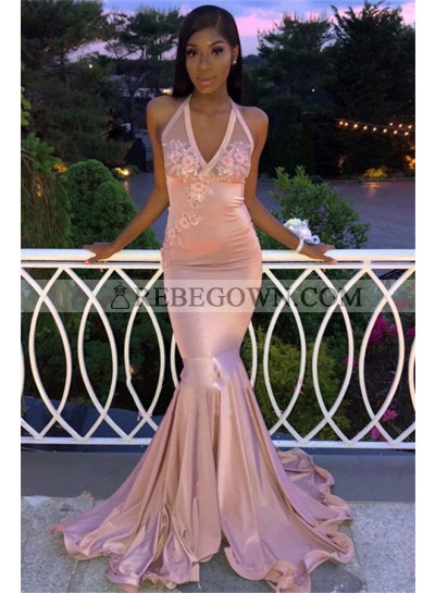 2021 Sexy Prom Dresses Satin Dusty Rose Halter Backless Embroidery