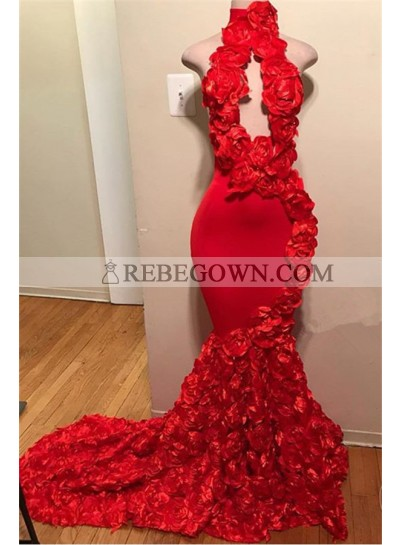 2021 Sexy Prom Dresses Red Mermaid High Neck Rose Open Front Backless