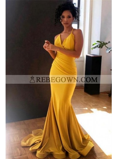 2020 Sexy Prom Dresses Satin Gold Sweetheart Pleated Mermaid Cheap
