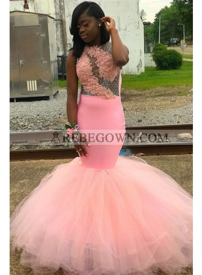 2020 Sexy Mermaid Prom Dresses Pink Beaded Tulle Backless
