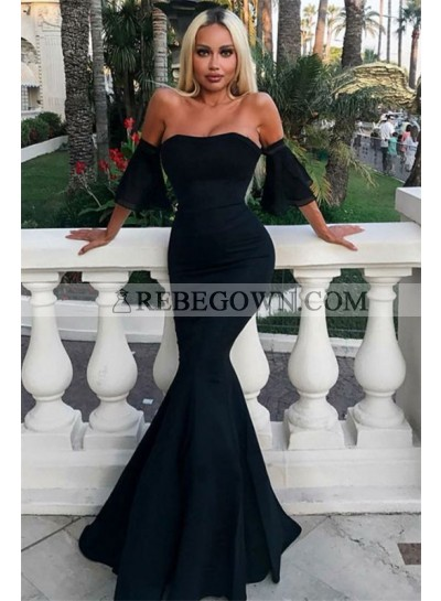 2020 Sexy Mermaid Prom Dresses Strapless Bell Sleeves Black Cheap