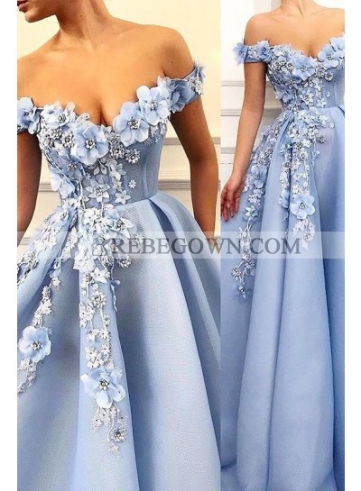 2021 Cheap Prom Dresses A Line Satin Blue Sweetheart Floral Patterns Long