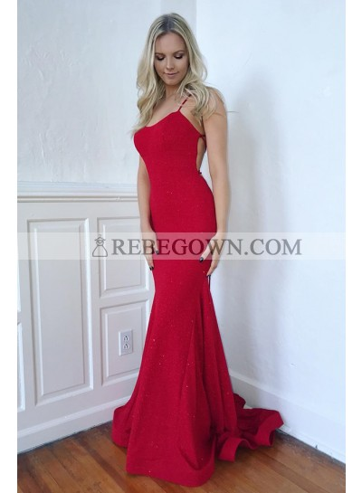 2020 Sexy Mermaid Prom Dresses Red Lace Up Back Backless Spaghetti Straps