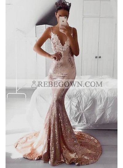 2021 Sexy Mermaid Prom Dresses V Neck Dusty Rose Sequence Lace Backless