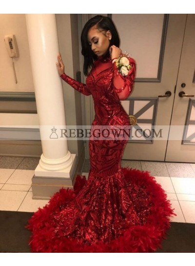 2021 Sexy Prom Dresses Red Mermaid Feathers Long Sleeves Lace Long