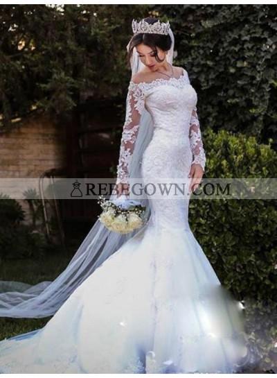 Off Shoulder Lace Mermaid Long Sleeves Long Wedding Dresses 2021