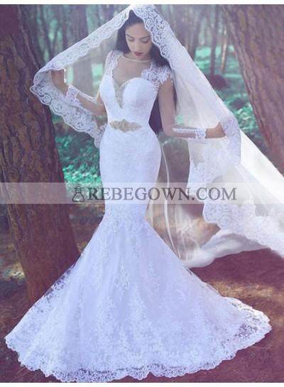 Long Sleeves Lace Beaded Mermaid White Belt Chapel Train Top Mesh Wedding Dresses