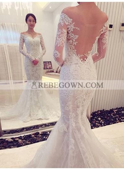 Sweetheart Back Mesh Long Sleeves Mermaid Off Shoulder Lace Wedding Dresses 2020