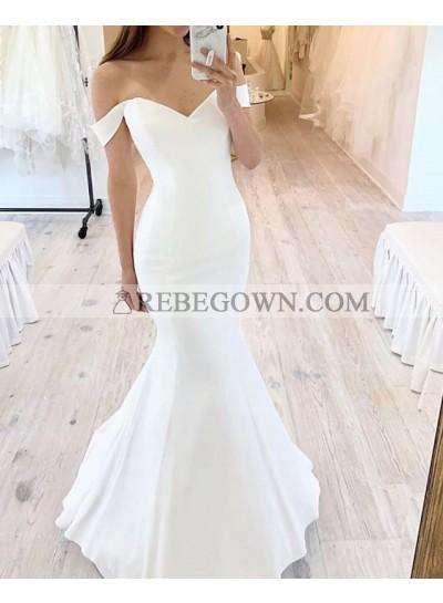 Ivory Sweetheart Satin 2020 Off Shoulder Mermaid Beach Wedding Dresses