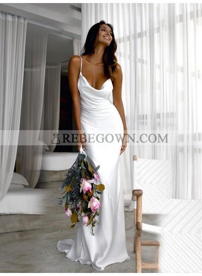 Elastic Satin Halter Backless 2020 Sheath Sweep Train Beach Wedding Dresses