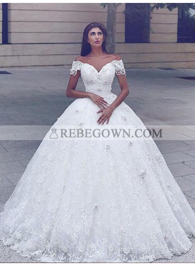 Off Shoulder Sweetheart Lace 2020 Ball Gown Chapel Train Wedding Dresses