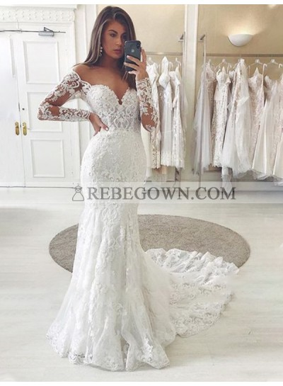 Off Shoulder Sweetheart 2021 Lace Long Sleeves Chapel Train Wedding Dresses