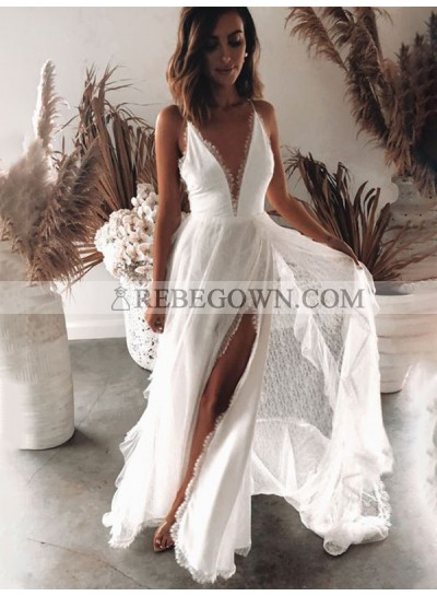 Lace Side Slit Backless Lace 2021 A Line Floor Length Beach Wedding Dresses