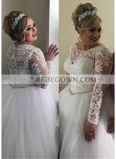 Long Sleeves Empire Waist 2020 Ball Gown Tulle Lace Plus Size Wedding Dresses