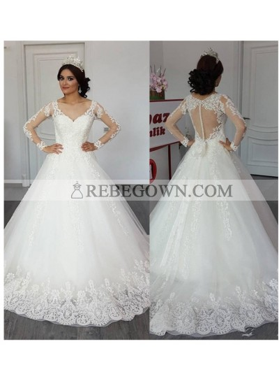 Long Sleeves Sweetheart 2021 A Line Tulle With Appliques Bowknot Mesh Wedding Dresses