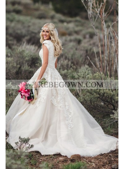 Ivory Tulle With Appliques 2021 Capped Sleeves V Neck Beaded Sash Long Lace Wedding Dresses