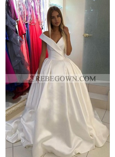 Off Shoulder Lace Up Back Satin 2021 Ivory Chapel Train Long Ball Gown Wedding Dresses