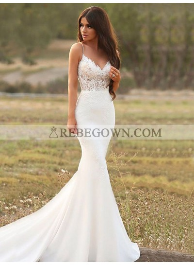 Spaghetti Straps Satin Lace Empire Mermaid Sweetheart Chapel Train Wedding Dresses 2020