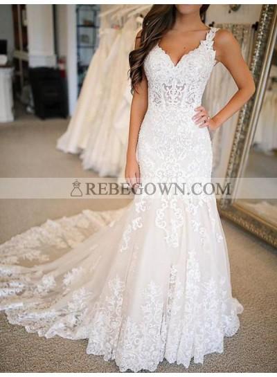 Lace Sweep Train Empire 2021 Ivory Sheath Sweetheart Long Wedding Dresses