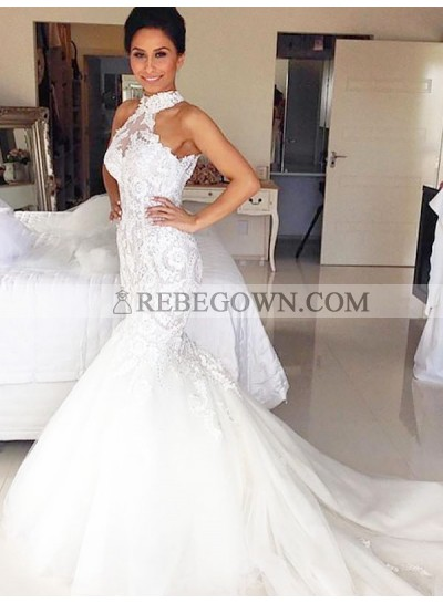 Tulle With Lace Long Mermaid High Neck Wedding Dresses 2021
