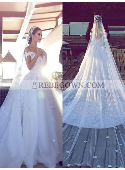 A Line Organza White Off Shoulder 2021 Sweetheart Flower Patterns Long Wedding Dresses