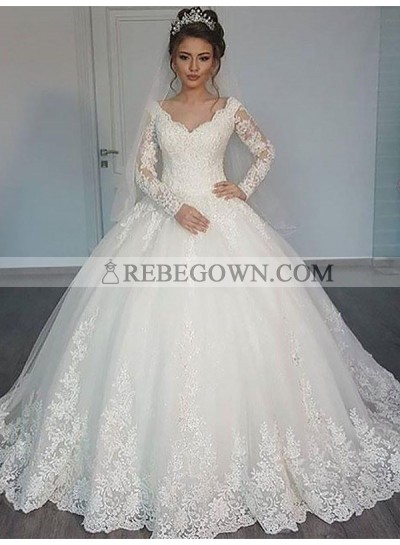 Sweetheart 2021 Lace Long Train Long Sleeves Ball Gown Wedding Dresses