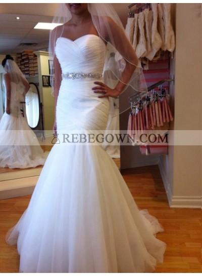 Sweetheart Ruched Tulle White Mermaid Lace Up Back Beaded Sash Wedding Dresses